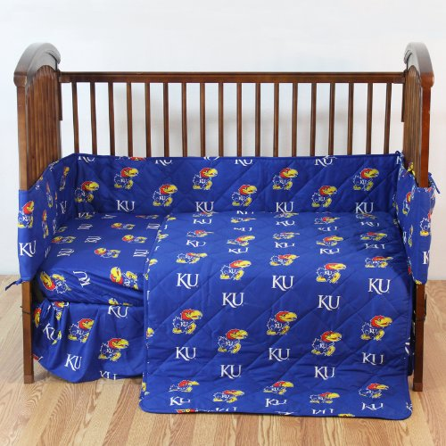 Kansas Jayhawks 5 Piece Crib Set - Entire Set includes: (1) Reversible Comforter, (1) Bed Skirt , (2) Fitted Sheets and (1) Bumper Pad - Decorate Your Nursery and Save Big By Bundling!