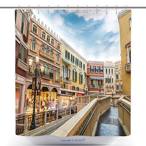 vanfan-Cool Shower Curtains Macau China Nov The Venetian Macao Resort Hotel Mall On Nov In Macau This Is A Major Polyester Bathroom Shower Curtain Set With Hooks(70 x 92 - Springs Mall Of Map Cool