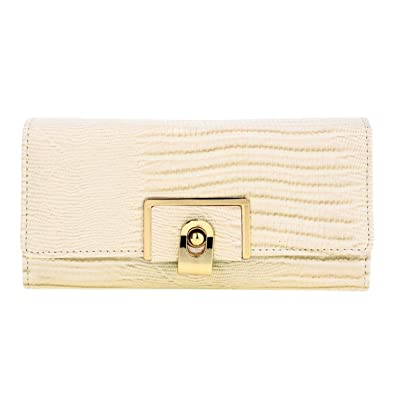 40cfcdb1bc7 Xardi London Beige Flap Large Multi Twist Lock Women Wallet Grained PU  Leather Ladies Girls Coin