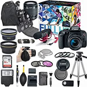 Canon EOS Rebel T7i DSLR Camera Deluxe Video Creator Kit with Canon EF-S 18-55mm f/3.5-5.6 IS STM Lens + Wide Angle Lens + 2x Telephoto Lens + Flash + SanDisk 32GB SD Memory Card + Accessory Bundle