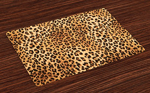 Wild Animals Placemat - Lunarable Animal Print Place Mats Set of 4, Wild Animal Leopard Skin Pattern Wildlife Nature Inspired Modern Illustration, Washable Fabric Placemats for Dining Room Kitchen Table Decor, Sand Brown