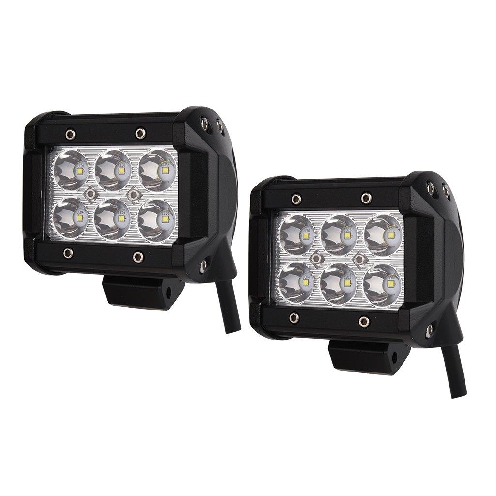 2 x 18W LED Work Light Bar Spot Beam Offroad Jeep Boat Car Fog 4WD Driving Lamp