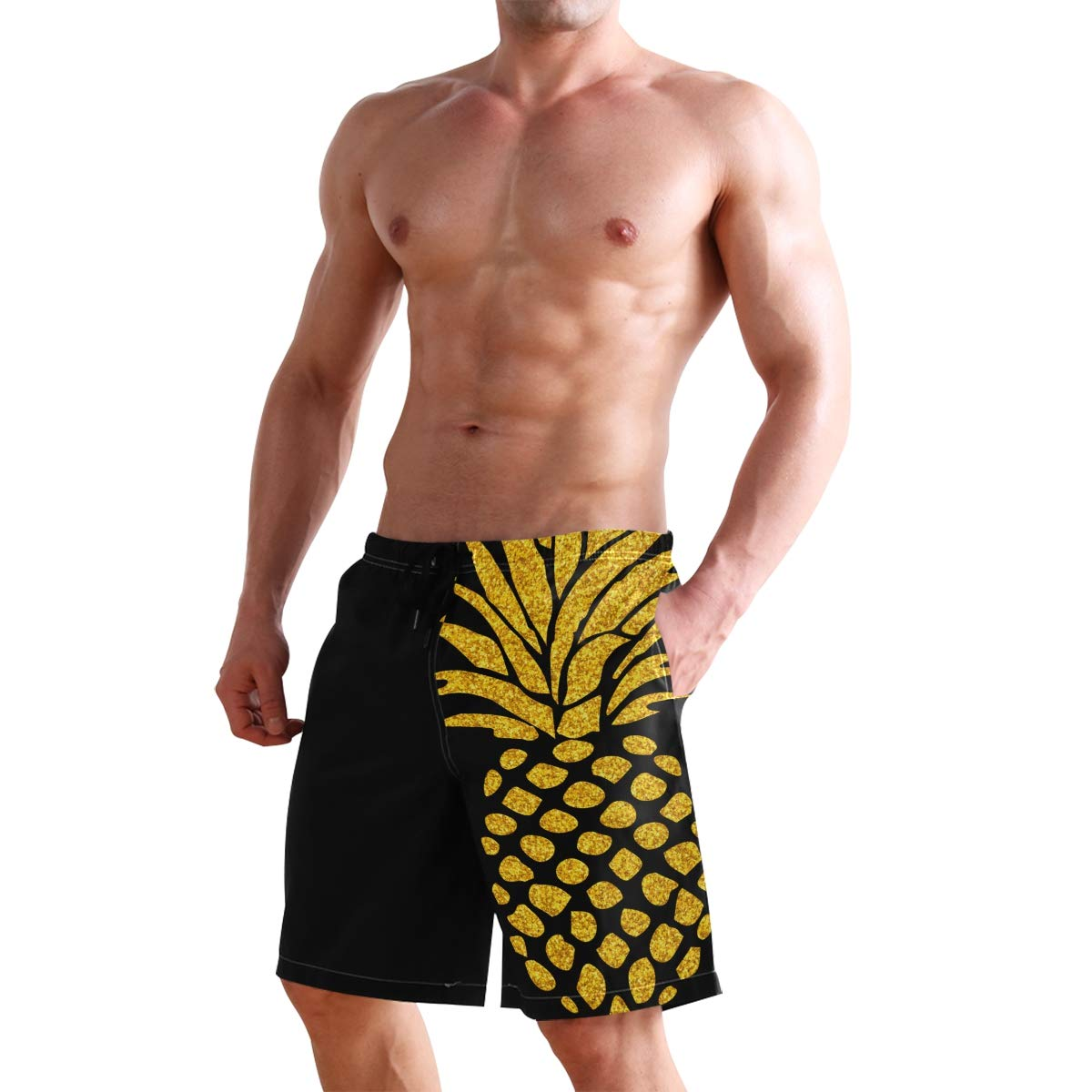 DongDongQiang Men Summer Pienapple Quick Dry Volleyball Beach Shorts Board Shorts