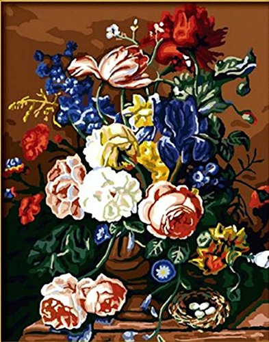 Dorara DIY Oil Painting for Adults Kids Paint By Number Kit Digital Oil Painting Still Life with Peonies flower 16x20 Inches (Life Peony Still)