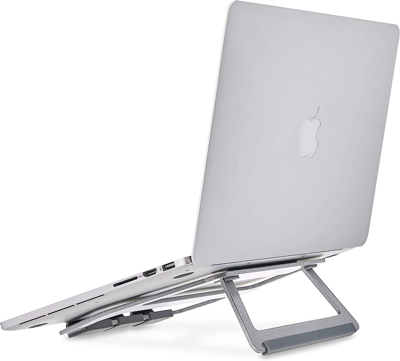 Amazon Basics – Soporte plegable de aluminio para ordenador portátil de hasta 38 cm (15pulgadas), Plateado