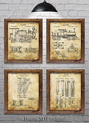 "Train Decor Railroad Decor - Set of Four 8""x10"" Vintage Railroad Patent Prints - Great Gift for Train Enthusiasts!"