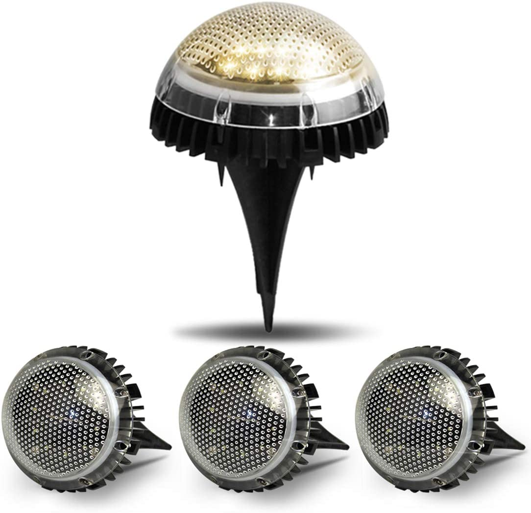 Solar Ground Lights 8 LED Solar Garden Lights Bulb Lights Hemispherical Lamp Outdoor Waterproof IP67 Landscape Lights for Yard Walkway Patio Lawn Driveway Decoration Solar Wall Deck Lights Pack of 4