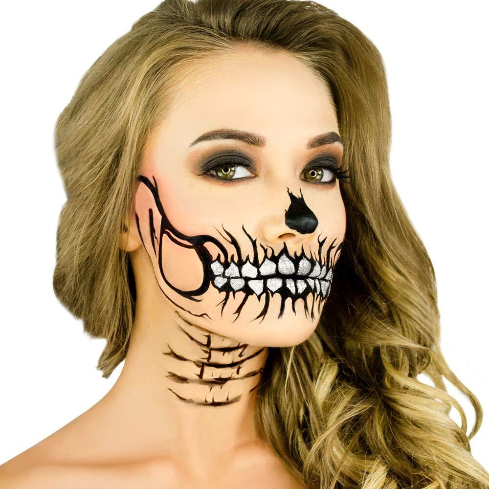 Woochie Stencil Kit - Professional Quality Halloween Costume Makeup - Glitter Skull by Woochie