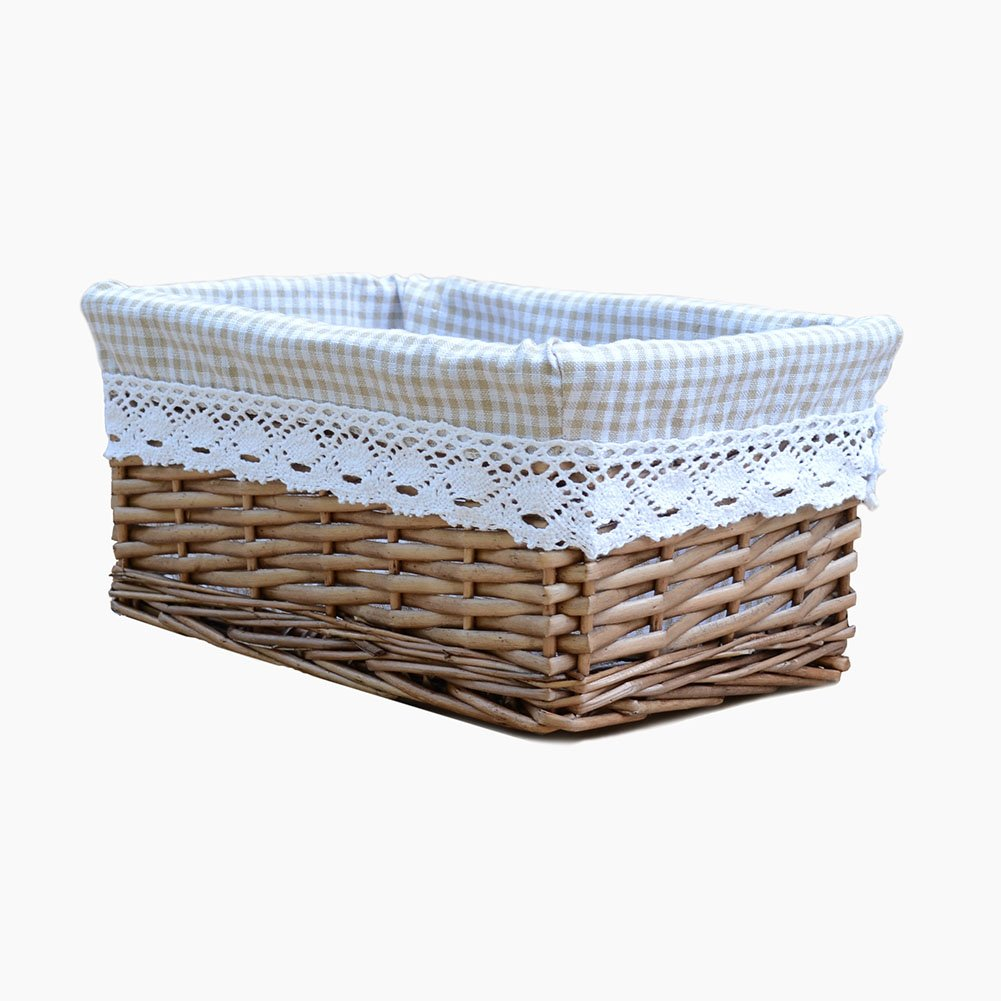 RURALITY Willow Wicker Storage Basket with Liner, Coffee Color, Medium JINGSEN LBKBRS0071