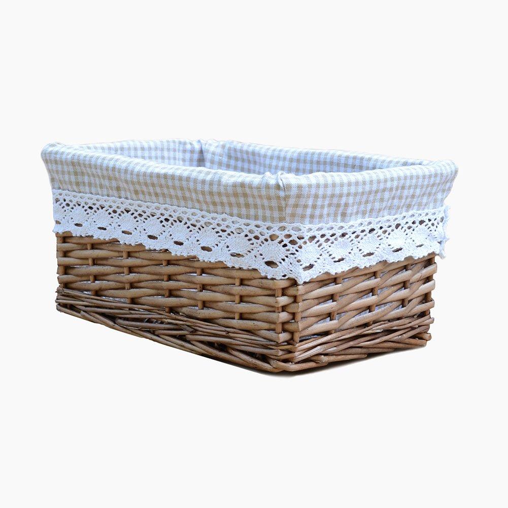 Rurality Willow Wicker Storage Basket with Liner, Coffee Color JINGSEN LBKBRS0071