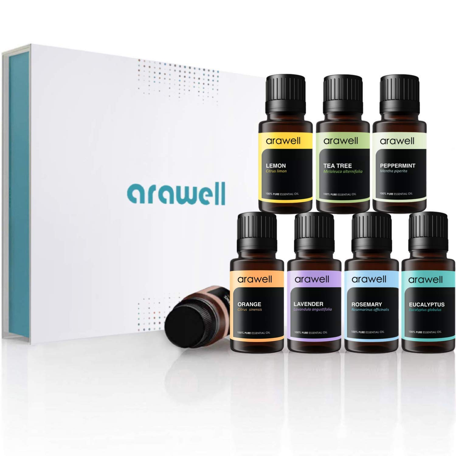Essential Oils Set, Arawell Top 8 100% Pure Therapeutic Grade Aromatherapy Oil Gift Kit for Diffuser - Lavender, Tea Tree, Peppermint, Rosemary, Frankincense, Sweet Orange, Lemon, and Eucalyptus