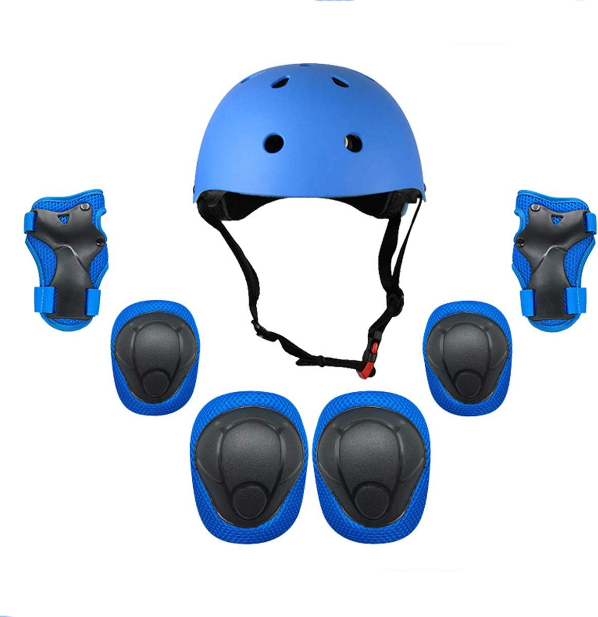 FOUJOY Sports Protective Gear Set Knee and Elbow Pads with Wrist Guards Adjustable Strap and Kids Helmet Suitable for 3.5-8 Years Old Children Skateboard Scooter Roller 7 Packs Bicycle