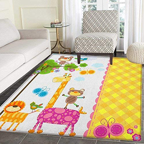Nursery Area Rug Carpet Baby Kids Design Butterflies Trees A