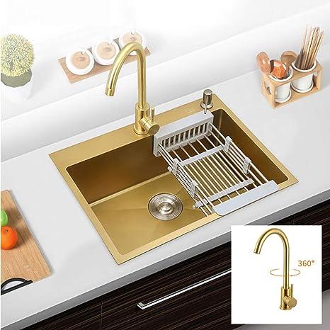 Amazon.com: Kitchen Sinks, 304 Stainless Steel Gold Kitchen ...