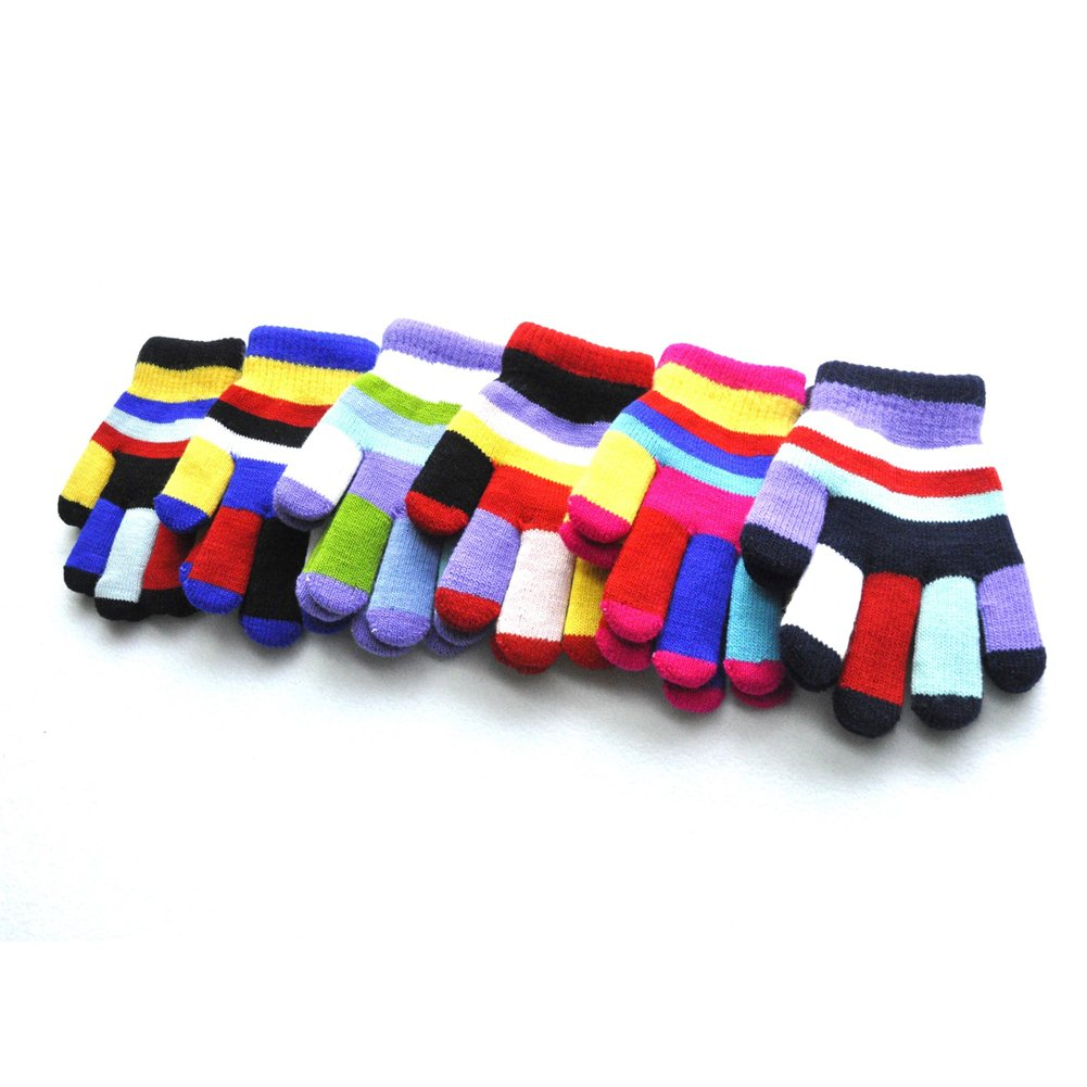 Neaer 3 Pcs Winter Warm Gloves Children Knitted Boys Girls Full Finger Knitted Warm Glove,Random Color