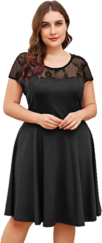 In Voland Plus Size Cocktail Dresses Wedding Party Dress Vintage Floral Lace Casual Midi Dress Black At Amazon Women S Clothing Store,Short Wedding Dresses With Sleeves