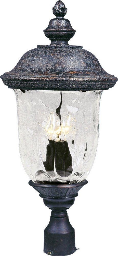 Maxim Lighting 40420WGOB Carriage House VX - Three Light Outdoor Pole/Post LAN, Oriental Bronze Finish with Water Glass