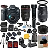 Canon EOS Rebel 6D 20.2 MP CMOS Digital SLR Camera with Canon 24-105 L Zoom Lens 33rd Street Bundle with Tamron 70-300 Zoom Lens + Canon 50 1.8 Portrait Lens + 24pc Accessory Kit