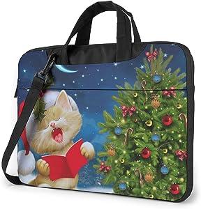 Cute Cat Sing Christmas Carols Printed Laptop Shoulder Bag,Laptop case Handbag Business Messenger Bag Briefcase