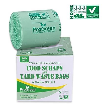 GreenPro ProGreen - Bolsas de basura 100% compostables de 6 galones, extra gruesas de