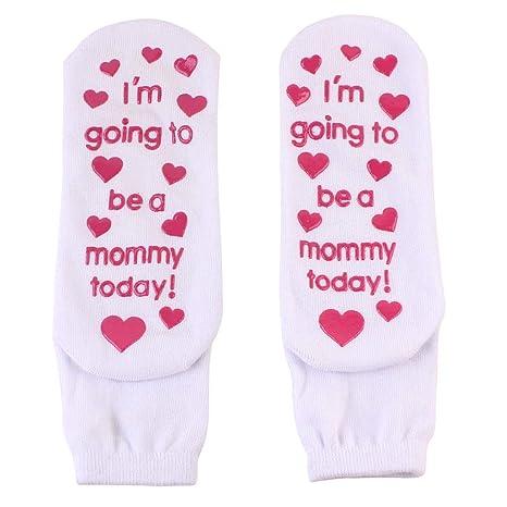 Junlinto Mujeres Letras Divertidas Calcetines Inferiores del Tobillo de Las Mujeres Antideslizantes Algodón Embarazada Blanco cálido