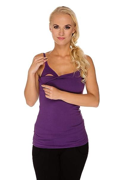My Tummy Top de lactancia camiseta sujetador integrado morada: Amazon.es: Ropa y accesorios