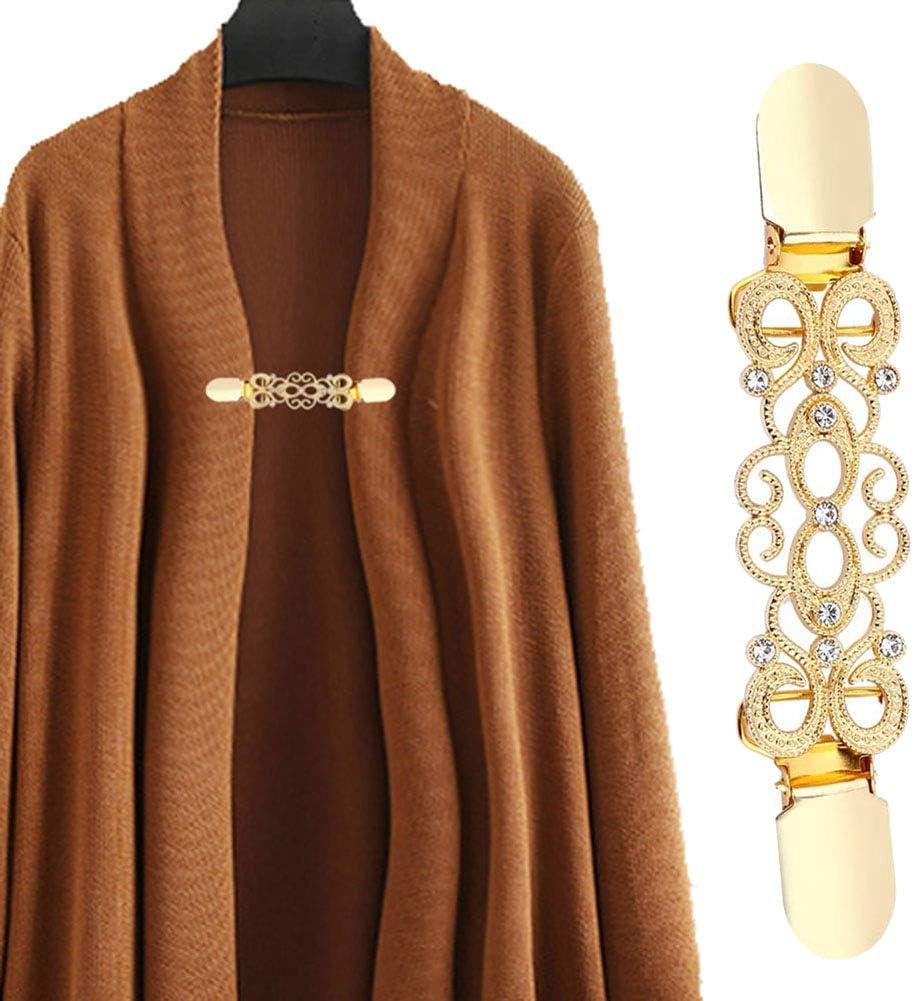 Golden YUnnuopromi 5Pcs//Set Vintage Women Cardigan Collar Clips Flower Clasp for Dress Shawl Decoration Silver