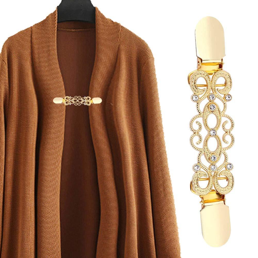 Kragen Blumen-Verschluss f/ür Kleid Golden Dekoration Schal 5 St/ück Silver Clips YUnnuopromi Damen Strickjacke