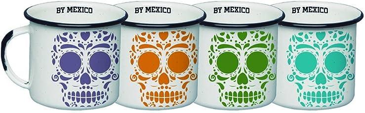 By Mexico Mini Pocillos de Peltre 85 mililitros modelo Calavera Colores set de 4