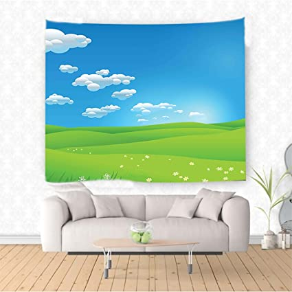 Amazon Com Nalahome Landscape Cartoon Scenery Clouds Valley Hills