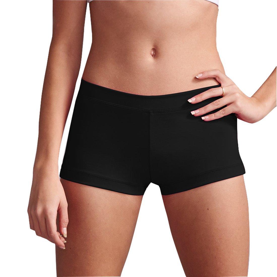 Girls Dance short - Girls' Boy Cut Low Rise Gymnastics Shorts (130(7-8)),Black