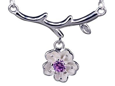 f4e5dfee8ec5 NicoWerk Silberkette mit Anhänger Kirschblüte Blume Rosa Zirkonia Halskette  Damen 925 Silber Kette Schmuck Sterling SKE242  Amazon.de  Schmuck