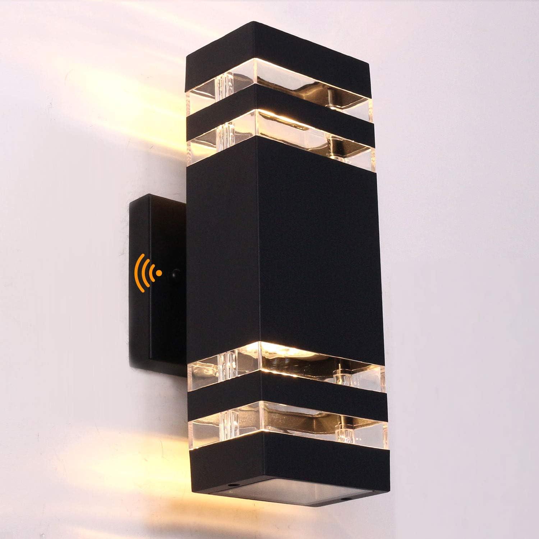 Ankita Dusk to Dawn Sensor LED Outdoor Wall Light Aluminum Waterproof, for Decoration on Door Way, Corridor, Garage, Black Modern Porch Light 20W, 3000k Warm White