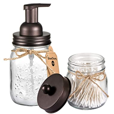 SheeChung Mason Jar Bathroom Accessories Set - Includes Mason Jar Foaming Hand Soap Dispenser and Qtip Holder - Rustic Farmhouse Decor Apothecary Jars Bathroom Countertop and Vanity Organizer/Bronze