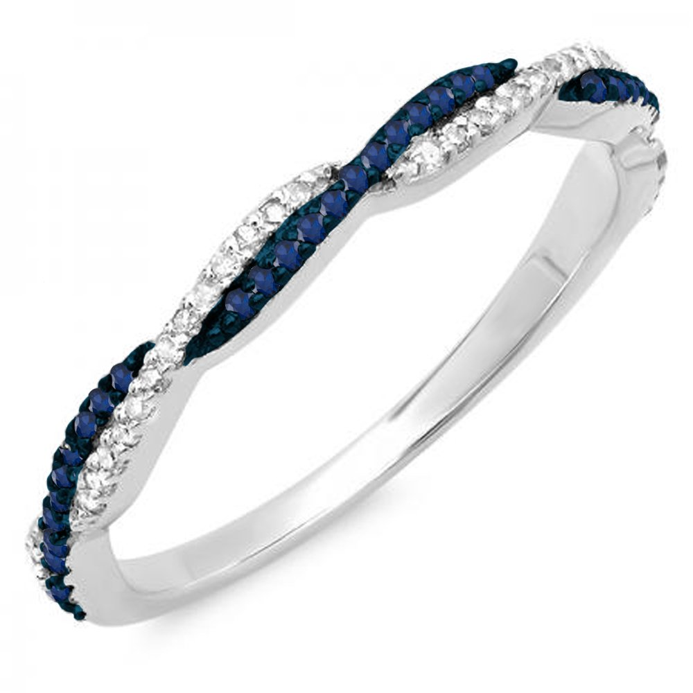 14K White Gold Round Blue Sapphire & White Diamond Ladies Wedding Band Swirl Stackable Ring (Size 6.5)