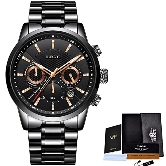 Mens Watches Top Luxury Chronograph Military Sport Watch Men Full Steel Multi-function Quartz Clock