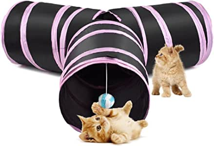 SlowTon Cat Tunnel Toy, Crackle Paper Collapsible Tube Three Connected Run Road Way Tunnel Catnip House with Fun Ball Puzzle Exercising and Playing for Kitten, Rabbits and Small Dogs (Pink)