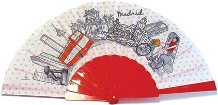 Nadal, Fiesta Souvenirs 393148, Abanico Madrid en Bicicleta, Algodón y PVC, Rojo, 23x2x2 cm: Amazon.es: Hogar
