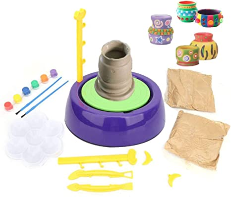 Pigment Set for Kids Age 8 and Up Hongzer Kids Pottery Wheel Pottery Studio Ceramic Machine with Clay Educational Toy for Kids Beginners