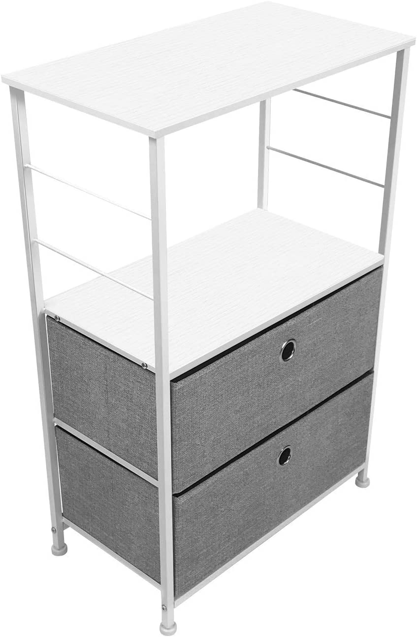 Office Steel Frame Wood Top College Dorm Easy Pull Fabric Bins Bedroom Gray//White Sorbus Nightstand 1-Drawer Shelf Storage- Bedside Furniture /& Accent End Table Chest for Home