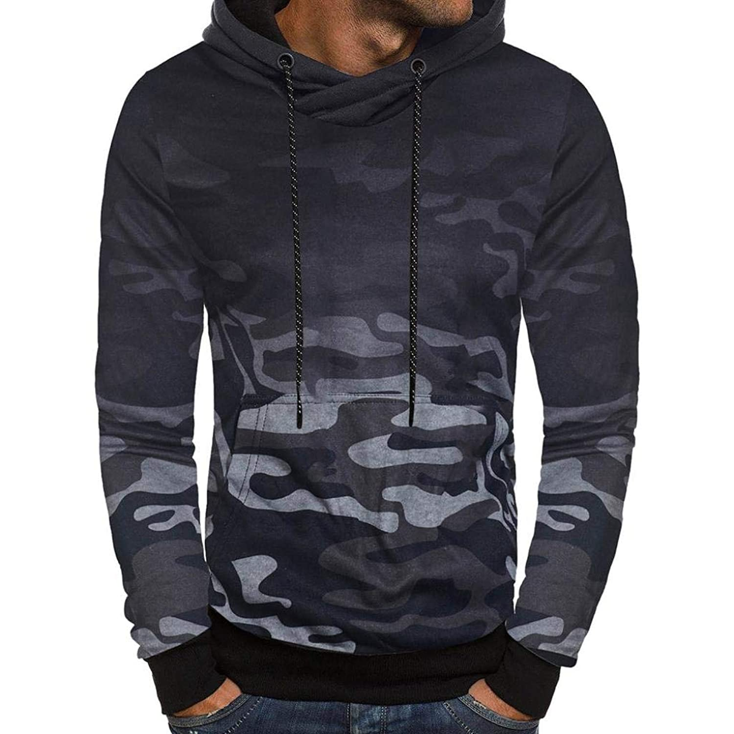 Easytoy Mens Leather Patchwork Button Hoodie Hooded Sweatshirt Tops