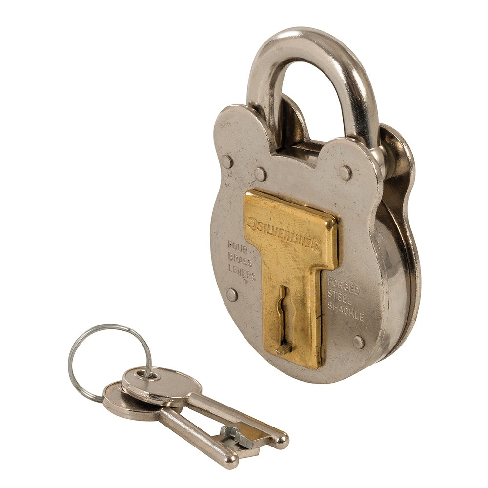 Silverline Tools 376867 50 mm Old English Padlock - Silver