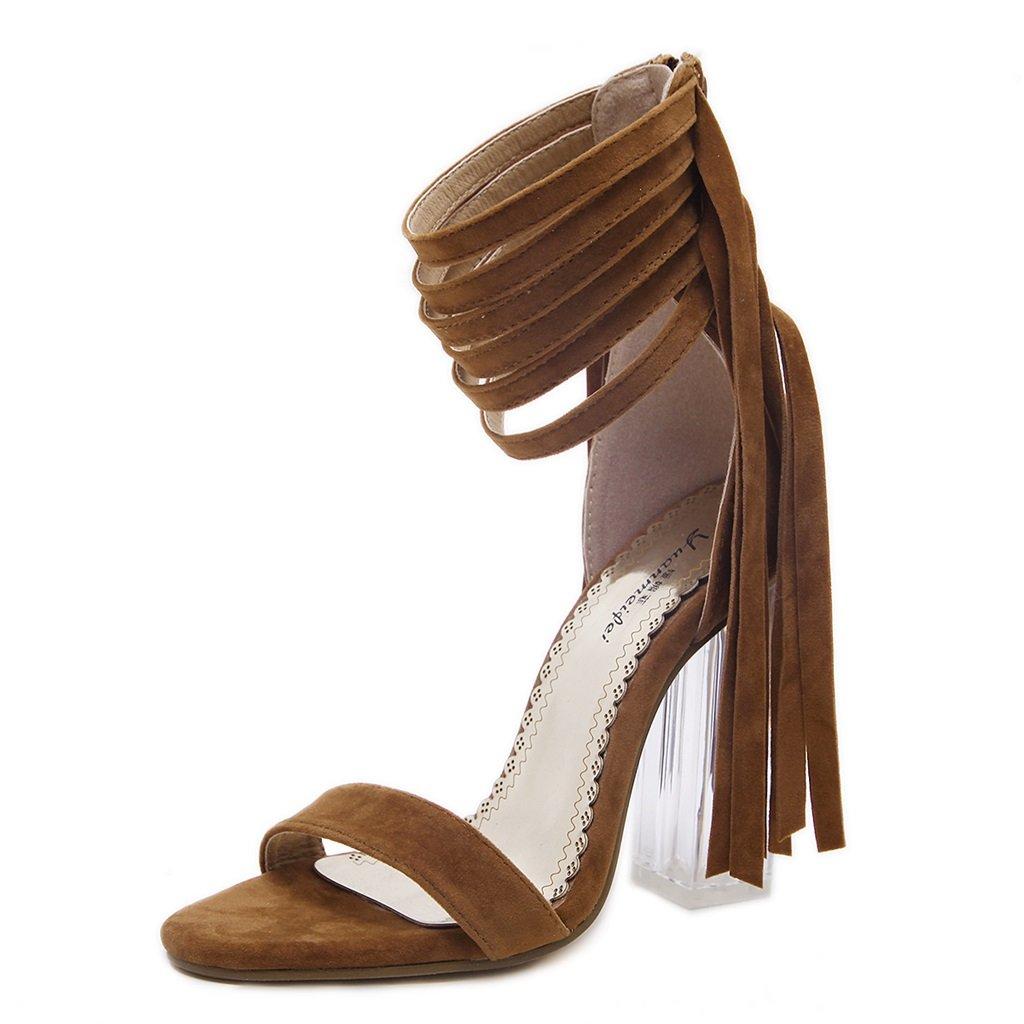 ALUK- und Europa und ALUK- die Vereinigten Staaten Sexy Toe Sandalen modisch mit High-heeled Damenschuhe ( Farbe : Hellbraun , größe : 38 ) Hellbraun 44f069