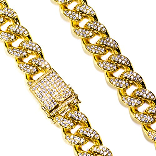 Studded Miami Cuban Link Necklace (26) (Miami Cuban Link Necklace)