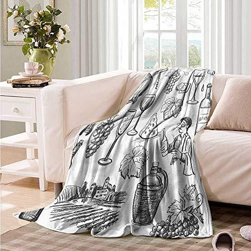 Oncegod Travel Blanket Wine Gourmet Wine Set Sketchy Super Soft Cozy 93