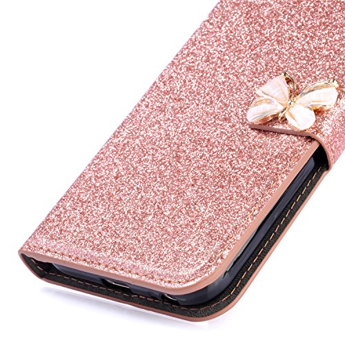 Sycode Diamant Hülle für iPhone 7 Plus (5.5 Zoll),Luxus Noble Elegant iPhone 8 Plus (5.5 Zoll) Bling Funkeln 3D Diamant Strass Perlen Blume Muster Kristall Rhinestone Flip Brieftasche Hülle mit Magnet 3D Schmetterling,Rose Gold