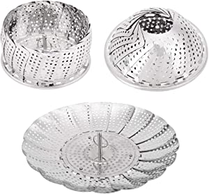 Zeakone Stainless Steel Vegetable Steamer Basket Collapsible Steamer Insert for Steaming Veggie Fish Seafood Cooking, Adjustable Sizes to Fit Various Pots (5.1