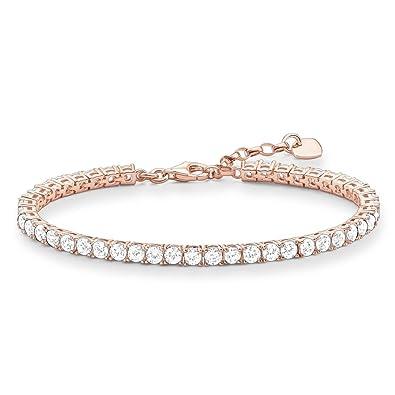 Thomas Sabo Tennis Bracelet Gold Plated Rose Gold/Zirconia of Adjustable Length 16-19.5cm AR3AEHI