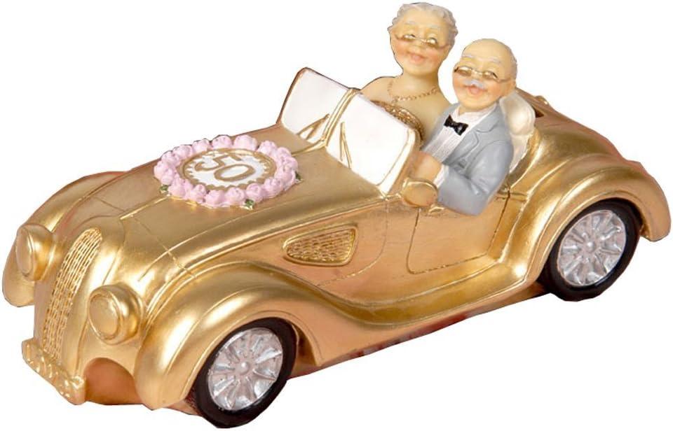 Aoneky Figura de 50 Aniversario de Bodas de Oro - Figura de Novios Pareja para Pastel Tarta, Regalo para Aniversario de Abuelos Padres, Decoración del Hogar Casa Coche Tarta Pastel