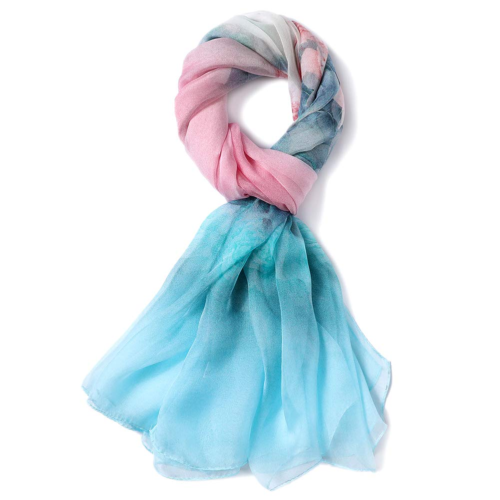 STORY OF SHANGHAI Womens 100% Pure Mulberry Scarf for Hair Silk Summer Head Scarf Silk Floral by STORY OF SHANGHAI (Image #2)